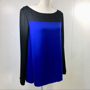 Joie Long Sleeve Black and Royal Blouse. L